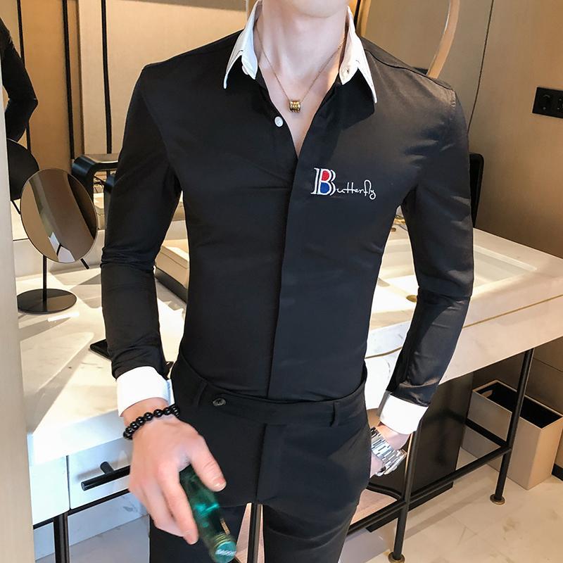 algodão preto camisa dos homens 2020 New Slim Fit Mens Camisas de vestido de festa de casamento Masculino Casual Camisa Casual Chemise