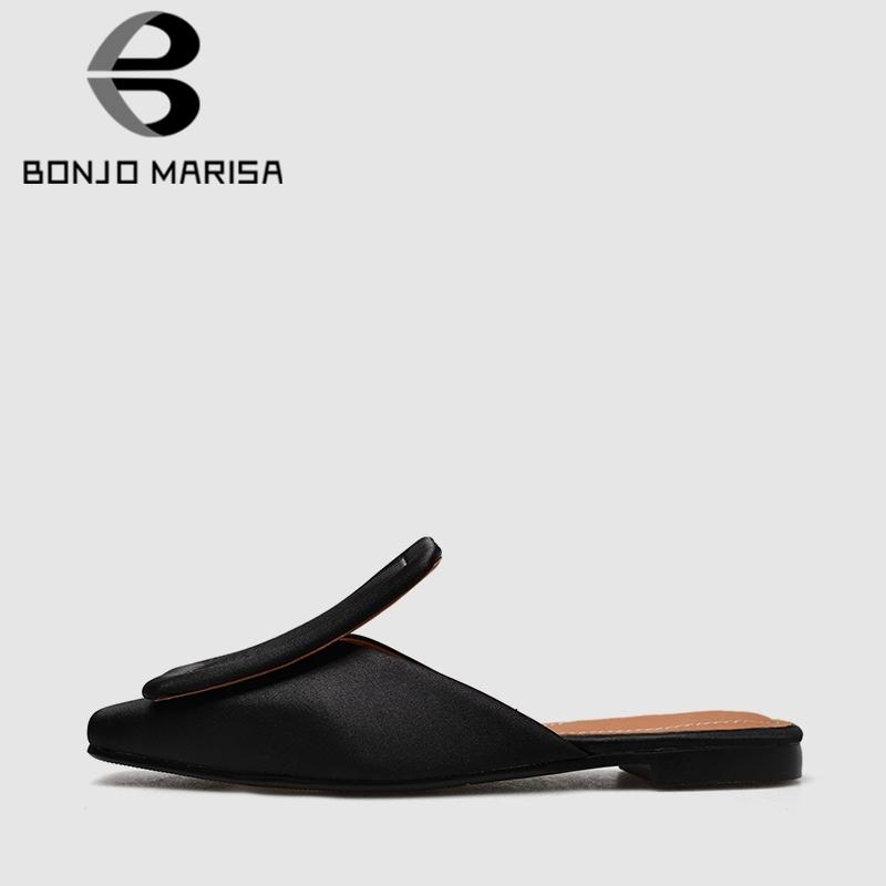 BONJOMARISA 2019 New  Design 1/5 Cm Heels Women Slippers Large Size 34-43 Elegant Silk Shoes Woman Eather Inside Footwear