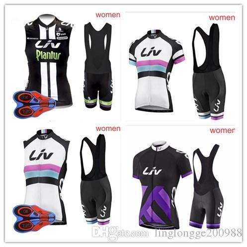 2018 Yaz Nefes Liv Kadın Bisiklet Kolsuz jersey bib şort setleri Hızlı Kuru Giyim Döngüsü Spor Sıcak Satış Döngüsü Giyim