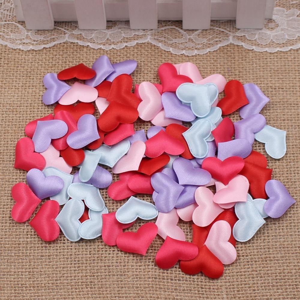 100pcs / lot 2.5cm Yapay Pamuk Aşk Yapraklı Düğün Süsleri DIY Scrapbook Hediye Kutusu Noel Dekorasyon El Sanatları Çiçek