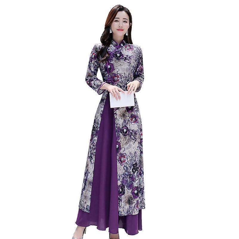 NEUE Herbst-Frauen-Kleid 2019 Frühling weibliches elegantes purpurrotes lange Hülsen-Druck-Kleid-Partei-Strand Boho lange Kleider Vestidos L218