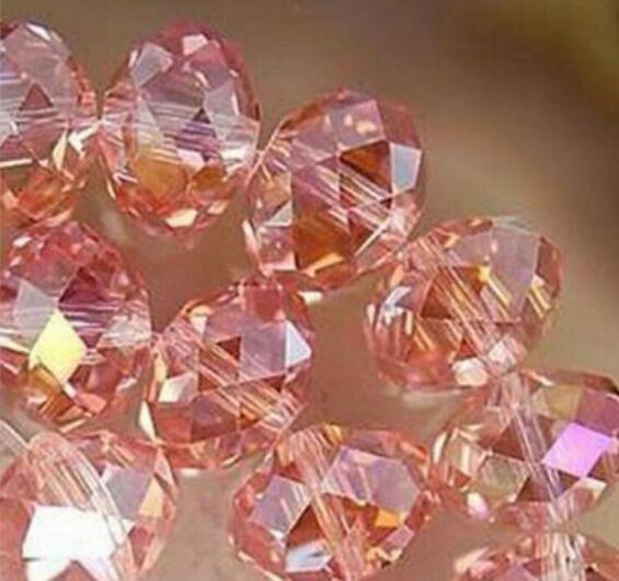 FREE SHIPPING + 1000PC 3x4mm Pink Multicolor Crystal Faceted Gems Loose Beads