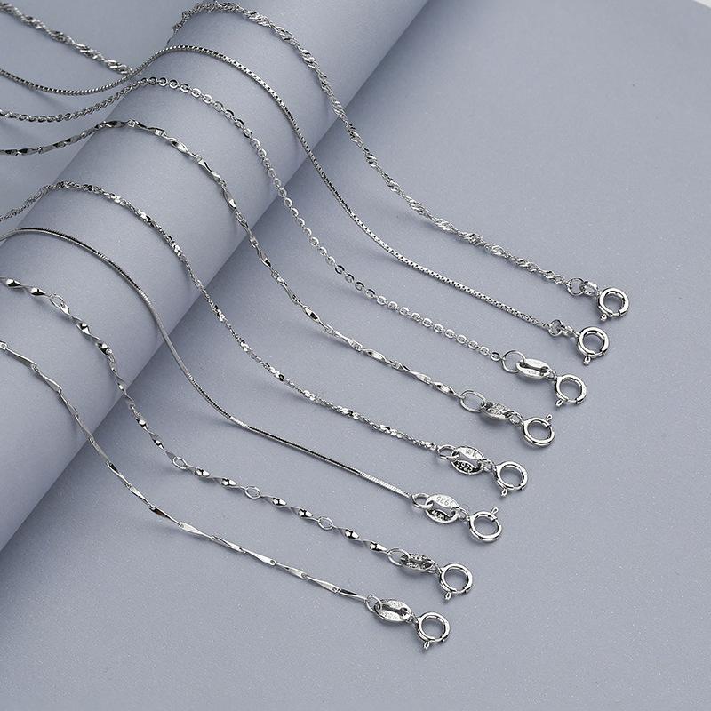 Trustdavis verdadeira prata 925 Água-acene Cobra Box corrente para a mulher 40cm / 45 centímetros 0,7 / 0,8 milímetros Cadeia Colar DC06