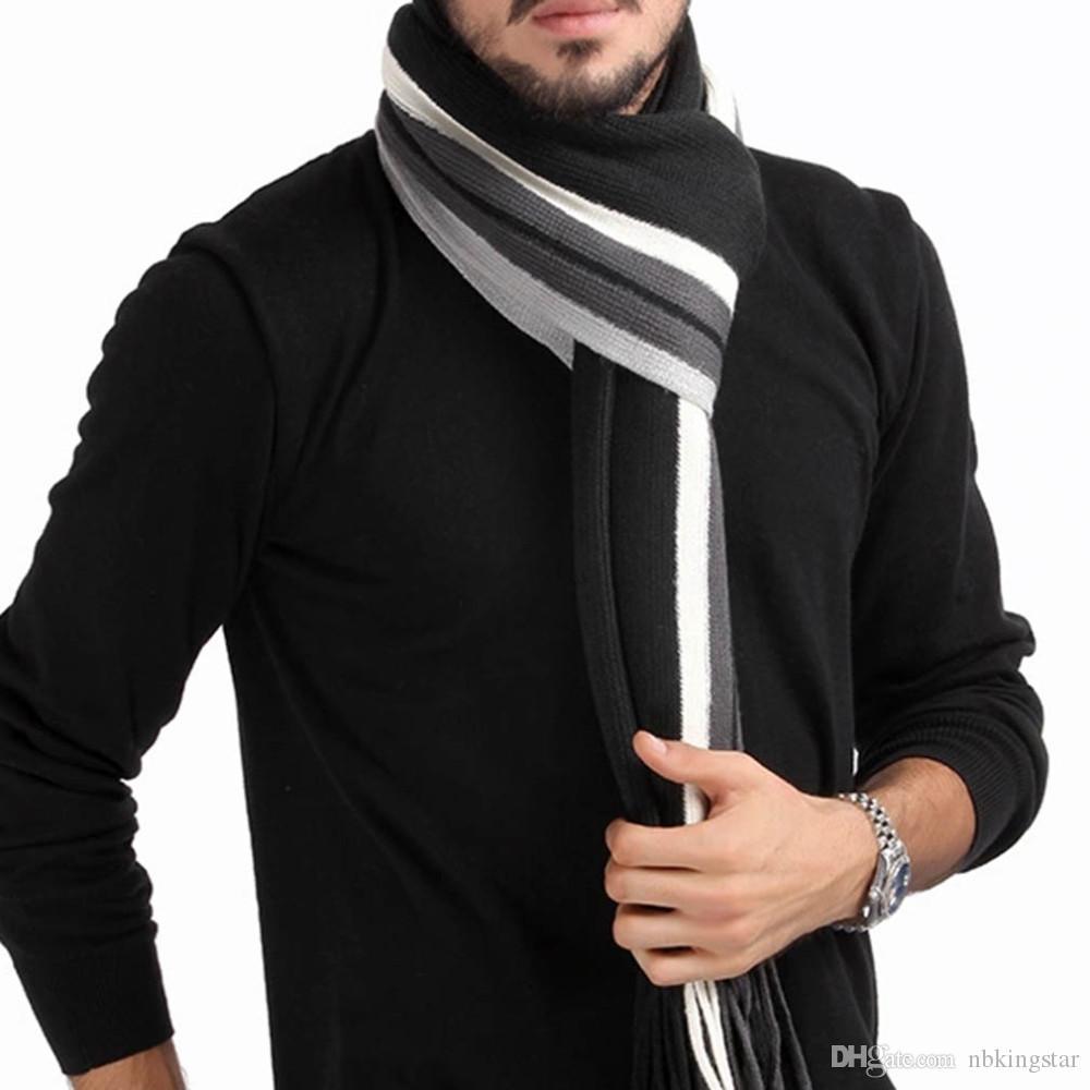 Moda masculina Xale Cachecol malha de algodão Inverno quente Clássico Listrado Borla Wrap Novo