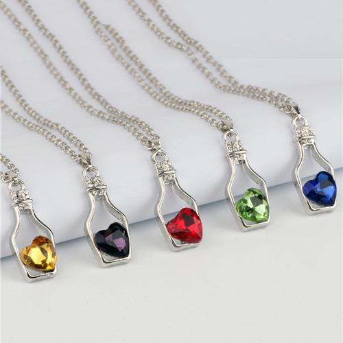 Fashion Women's Love Wishing Bottle Necklace Crystal Gemstone Lady's Drifting Bottle Pendant Chain Zircon Party Jewelry Necklace for Women