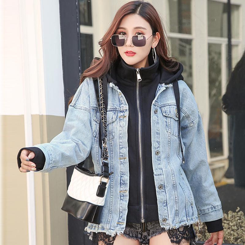 2019 di buona qualità delle donne di inverno strappato grigio chiaro Blue Jeans Cappotti lana d'agnello Liner Denim Giacche Slim nero Outerwear Top