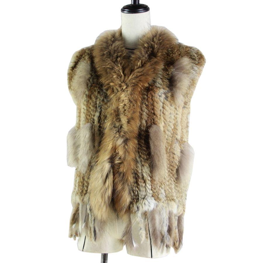 Бесплатная доставка женщин природный настоящее кролик меховой жилет с енота меховым воротником жилет/куртки Рекс кролика трикотажные толстые T200507