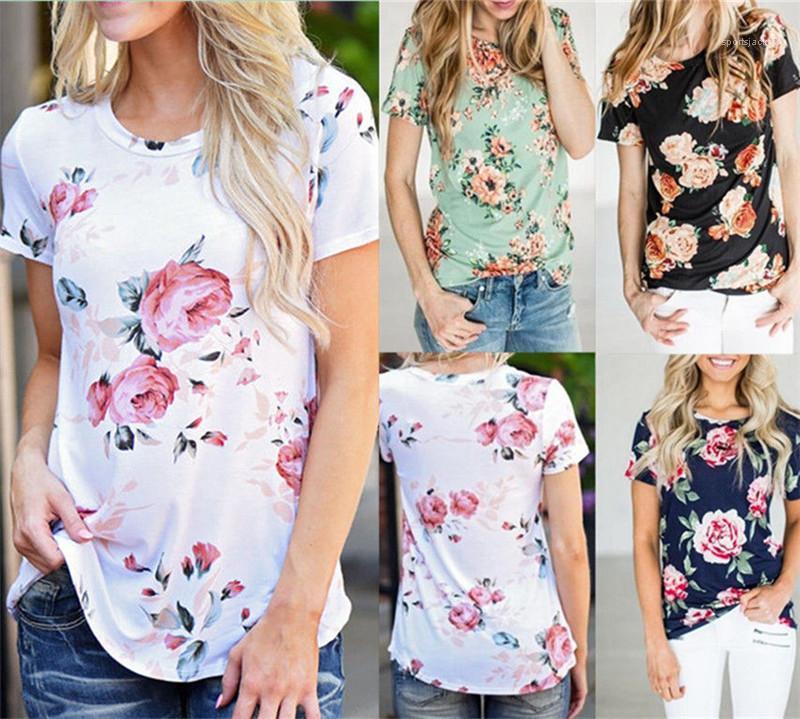 Отпечатано лето с коротким рукавом Обычная Тис женщин Дизайнер Тонкий пуловер Одежда Cacual Crew Neck Tshirt Цветочные