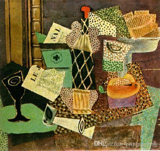 Pablo Picasso Classical 100% pintura a óleo Handmade On White Canvas Vidro E Frasco De palha Rum Picasso280