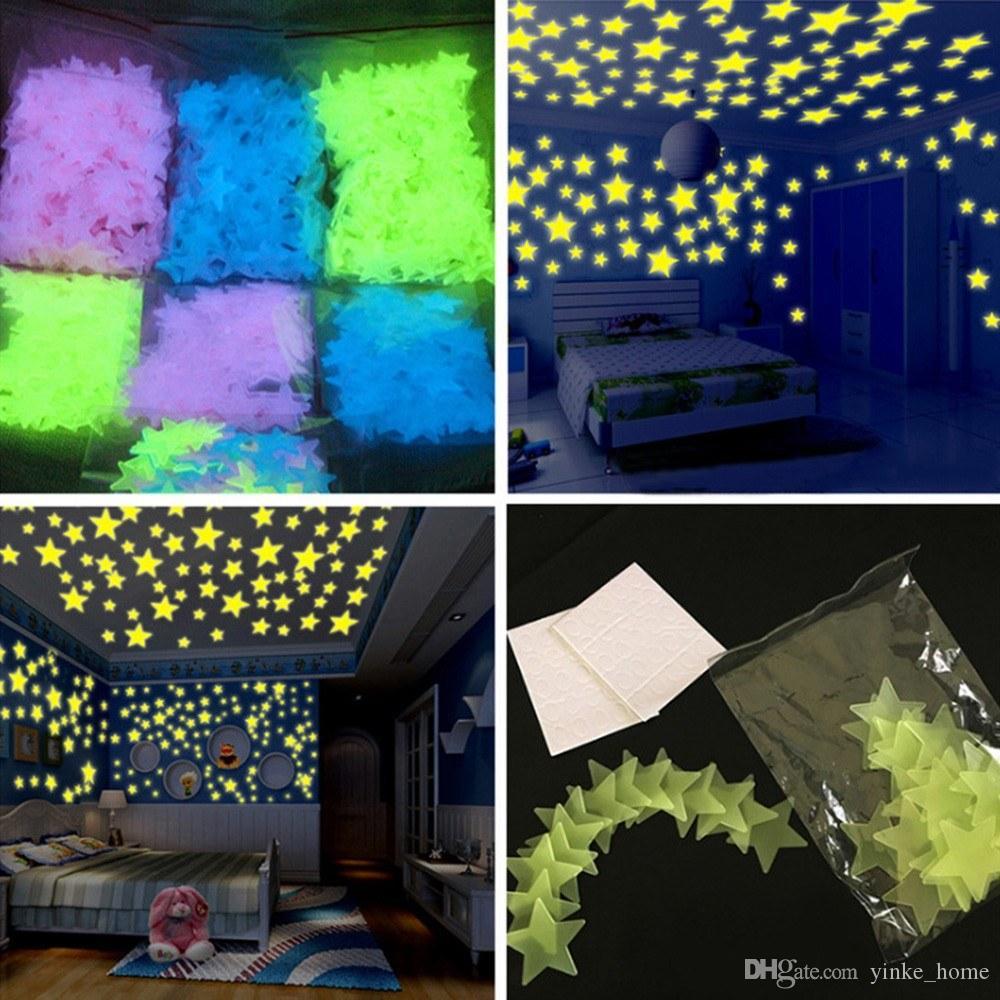 100PCS 3D Stars Stickers Glow In Dark Luminous Fluorescent Wall Sticker Wallpaper For Home Kids Bedroom Living Room Decor