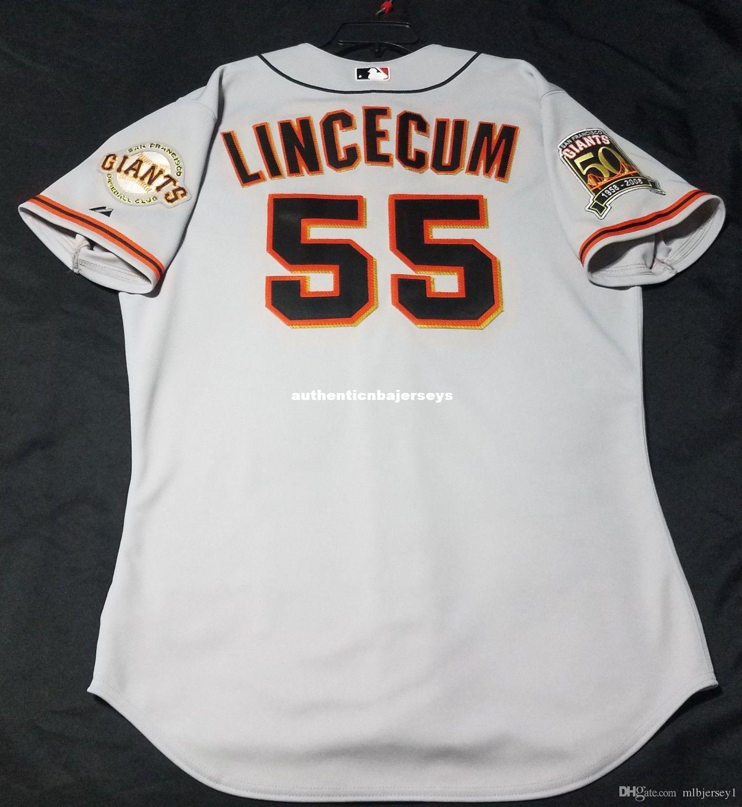 Majestic baratos San Francisco # 55 Tim Lincecum GRIS EN CAMPO Jersey para hombre cosido al por mayor de grandes y altos TAMAÑO XS-6XL camisetas de béisbol