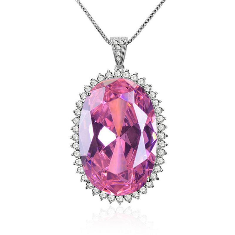 Big luxury oval pink crystal zircon diamond gemstones pendant necklaces for women white gold silver jewelry precious bijoux gift