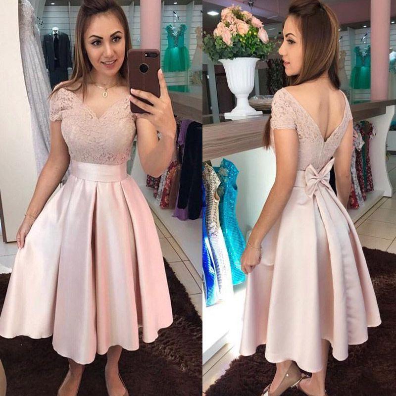 Hombro Pink Prom Vestidos de Fiesta Vestidos 2020 vestido corto de cóctel formal de la ocasión especial de los vestidos de encaje.