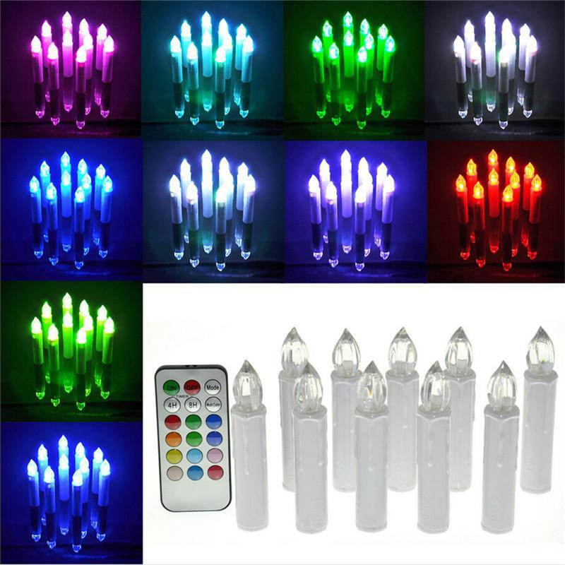 10pcs/set remote control electric candle light 12 color change flicking tea light candles for Home Festival Wedding Party ZA5775