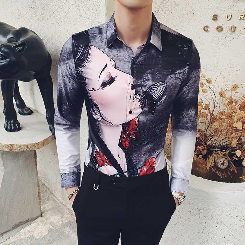 Camisa floral hombres moda manga larga diseño camisas camisas vestido social negocio marimisa homme streetwear masculino