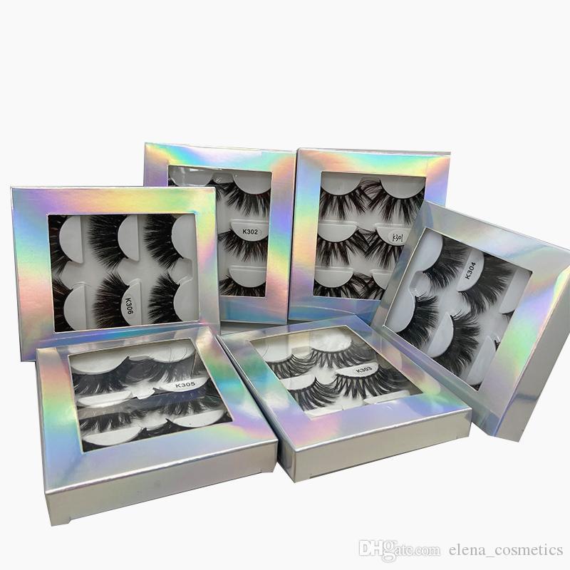3/5/7 pares de 22 milímetros-25 milímetros 3D falsos cílios postiços longos cílios maquiagem 3D Mink Lashes pestana Extensão Mink cílios Maquiagem