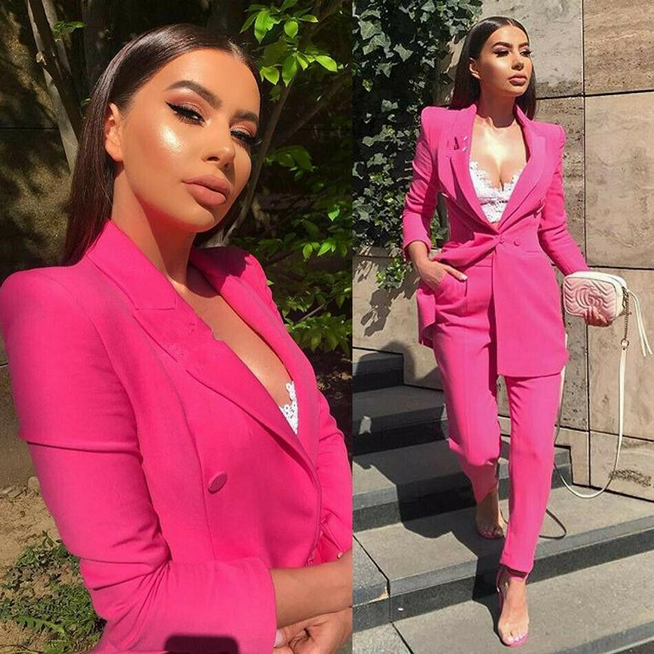 Spring Pink Mother of the Bride Suits Women Formal Party Evening Suits Slim Fit Work Business Ladies Office Tuxedos Guest Wedding Outfits
