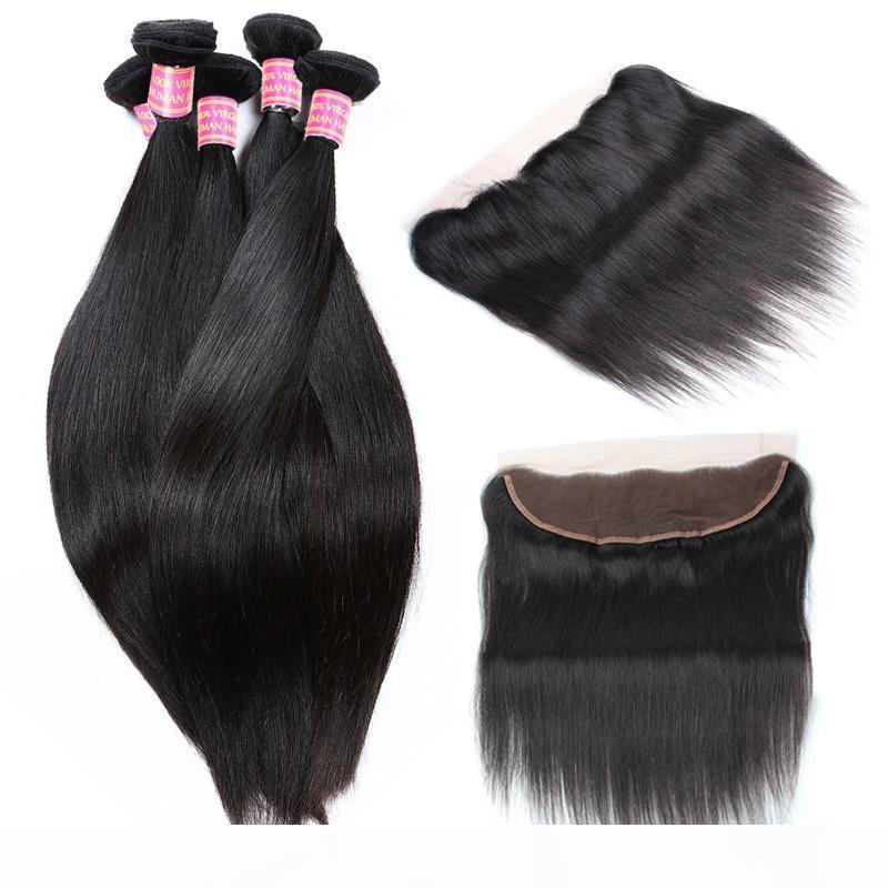 13X4 бразильский кружева фронтальная с 4 пучки 8A бразильский шелк прямые человеческие волосы с лобной отбеленные узлы Виргинские вьющиеся волосы переплетения