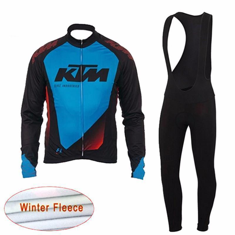 KTM Cycling Winter Thermal Fleece jersey (bib) pants sets breathable Long sleeve men riding Comfortable mtb bike sportwear F60380
