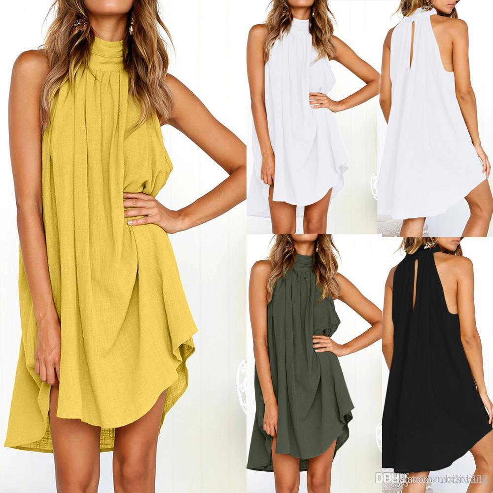 Для женщин отдыха Нерегулярного платья дамы лето пляж рукавов платье партии vestidos Verano Новых прибытий платья для женщин