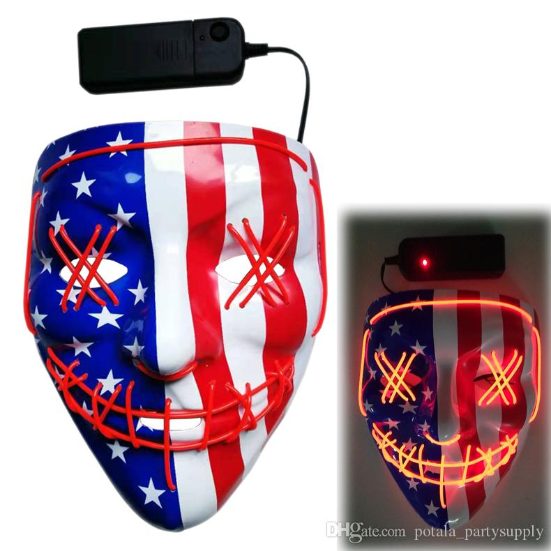 American flag Halloween Mask Led Mask Party Masque Masquerade Masks Neon Light Glow In The Dark V Horror Fluorescence Glowing Purge Election