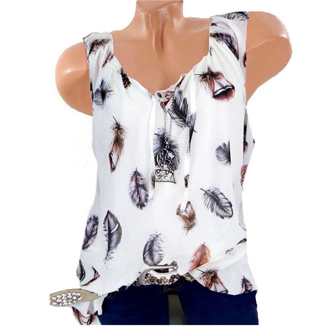 Mujeres de talla grande sin mangas con cuello en V Camisa con estampado de plumas con cuello en V Casual Summer Loose Veat Tanktop 5XL Camiseta Mujer Femme