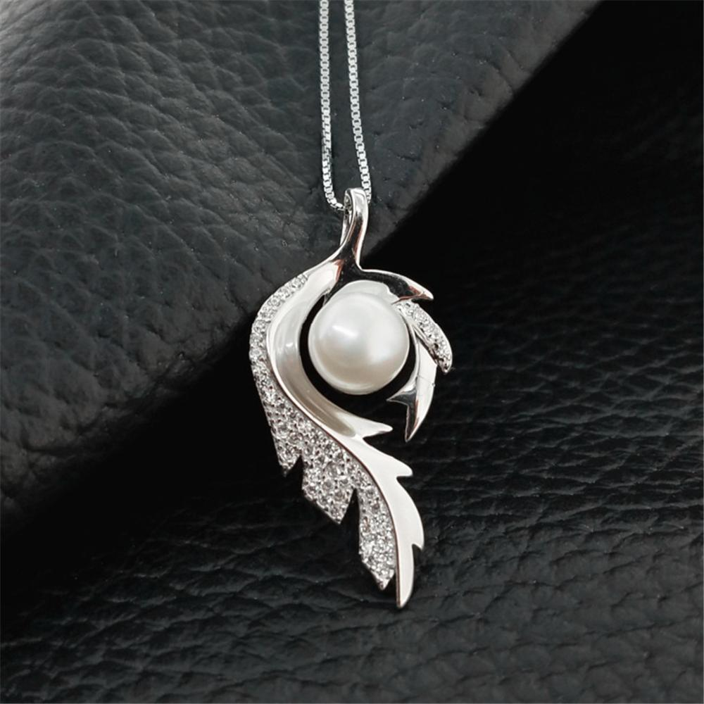 Exquis plume S925 argent sterling Réglages collier pendentif de mariage de femmes Bijoux de montage semi Mont bricolage Perles pour les femmes DZ083