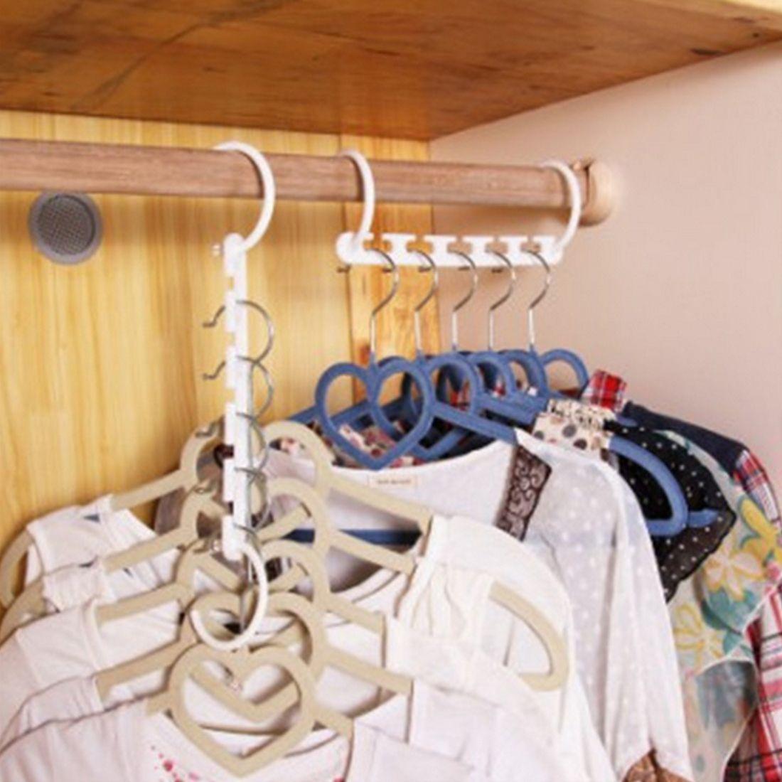 مفيدة 1 قطعة الفضاء إنقاذ شماعات البلاستيك القماش شماعات هوك ماجيك شماعات الملابس مع هوك خزانة المنظم