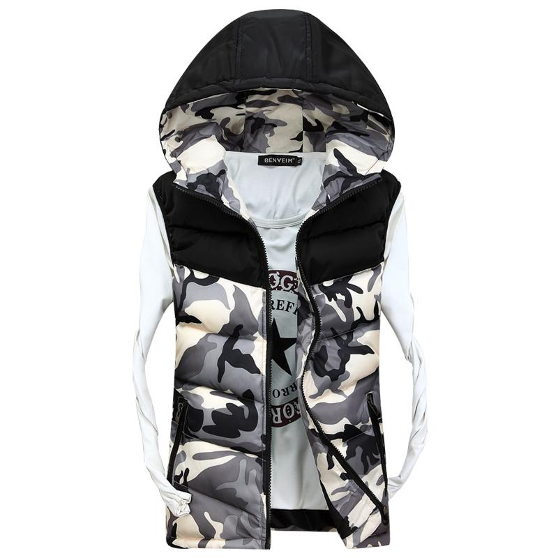 2016 новый мужской с капюшоном камуфляж жилеты Мужчины Женщины зима рукавов случайные куртки мужской тонкий камуфляж жилеты, бренд одежды, SA030