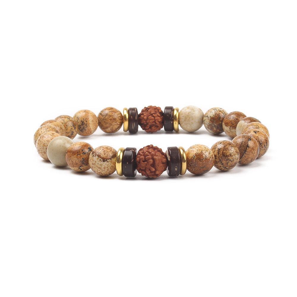 Joyería caliente 8mm Natural Piedra de piedra volcánica Bracele Cadena creativa de cuerdas de mano Exquisito pulsera elástica de yoga