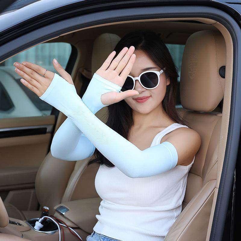 Kadınlar Katı Renk El Koruma Uv Kollu Güneş Kremi Kol Isıtıcı Yarım Parmak Parmaksız Koruyucu Kollu DH0703 T03 Uzatmak