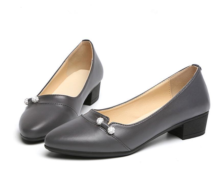 2020 весной и осенью с обувью Нового стиля моды Среднего каблуком Грубых пятками круглой головой женщинами в @ MQWBH785