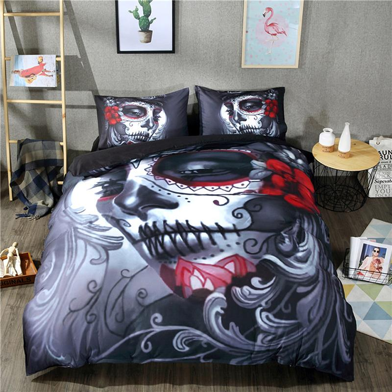 BEST.WENSD Nightmare before christmas Bedding set Halloween Flower Skull Bedclothes 3D Print Duvet Cover set Camellia Western