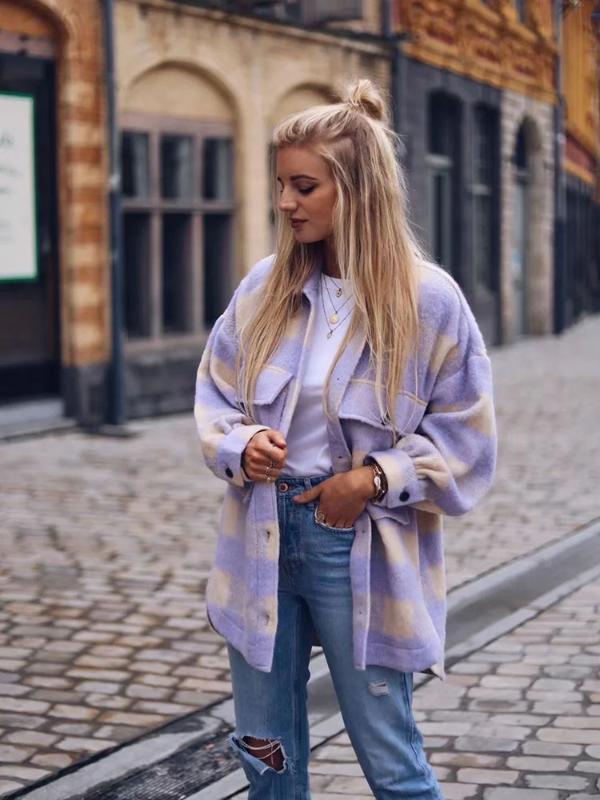 Стильная сладкая клетчатая шерстяная рубашка куртки женская мода карманы отложной воротник клетчатая куртка милые девушки шикарное пальто уличная одежда