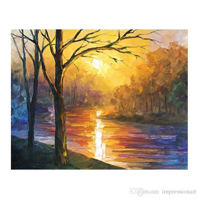 30x40 Dipinti ad olio dipinti a mano alberi di betulla salotti divani pareti ville europee sentieri alberati Sentiero forestale