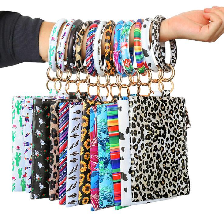 Simple Design PU Wallet Bracelets Key Ring Double-sided Printing Women Leather Wallet Cell Phone Purse Clutch Wallet with Bangle Zipper