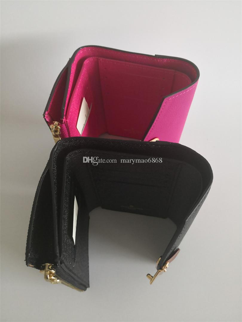 Nuevo sobre de diseño de lujo Flip mujeres billeteras cortas de cuero multicolor Portatarjetas clásico Thin Hasp Portfolio Purse Bank Card bag con bo