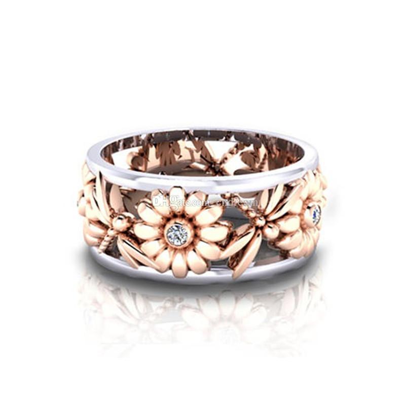Diamond Flower Daisy Bague évider anneau d'or Libellule Rose Band Anneaux pour Bijoux femmes Fashion et cadeaux de sable