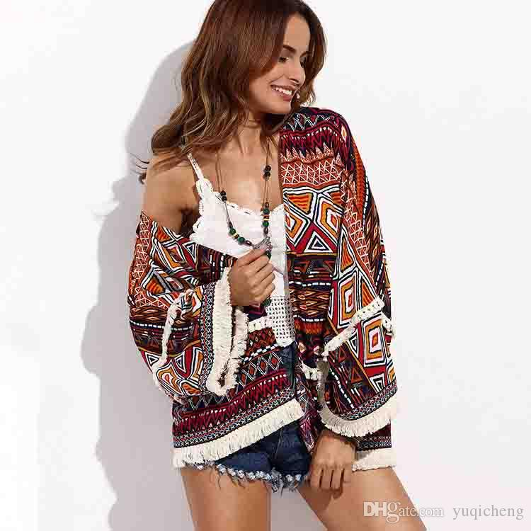 2019 Amazon moda donna Europa e Stati Uniti primavera e autunno nuovo scialle stampato cardigan camicia da spiaggia camicia della Boemia