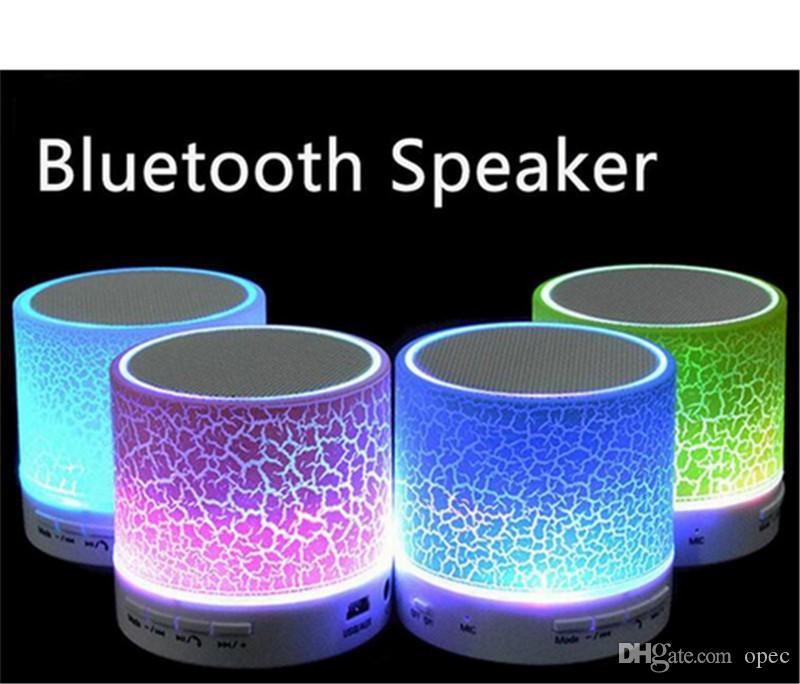 Мини портативный A9 треск текстуры Bluetooth-динамик со светодиодной подсветкой можно вставить U диск, мобильный телефон плеер с розничной коробкой DHL свободный корабль