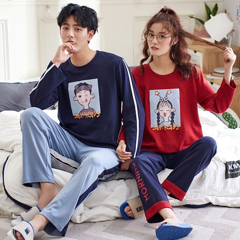 f0Owa 4tyOm otoño par de pijamas pajamaslong manga de los hombres de algodón y de las mujeres del otoño y del juego del ocio del algodón del estilo de Corea del invierno hom