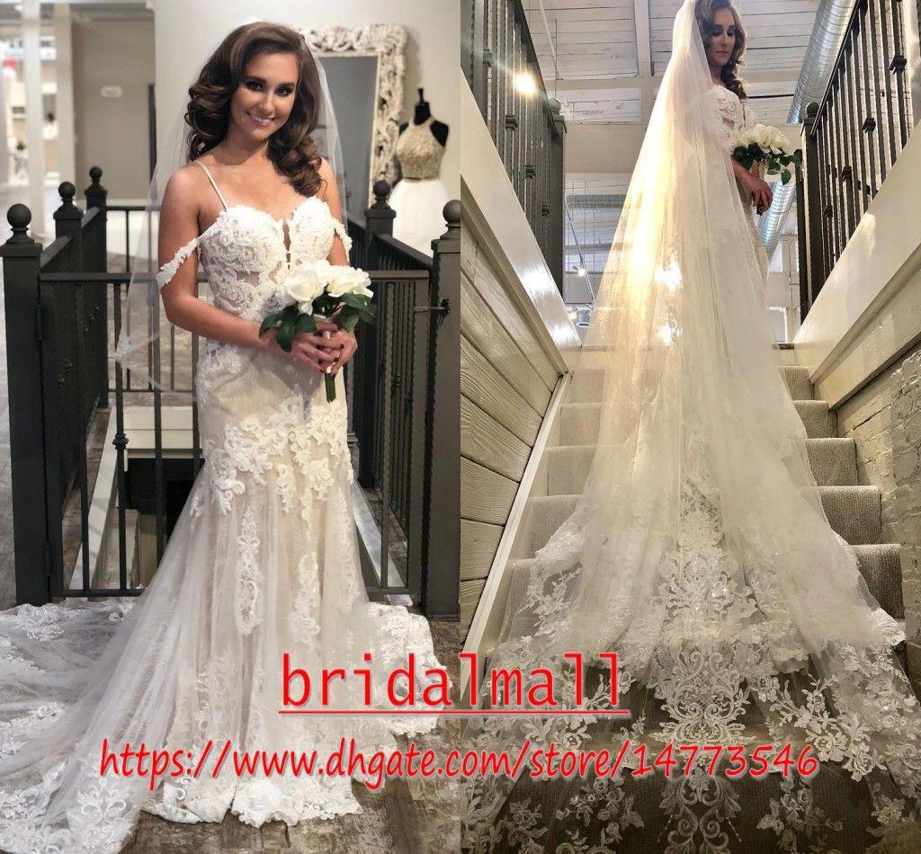 2020 New Vintage Meerjungfrau Spitze Brautkleider Spaghtti Riemen Spitze Applizierte Afrika Brautkleid Brautkleider Gericht Zug Vestidos de novia