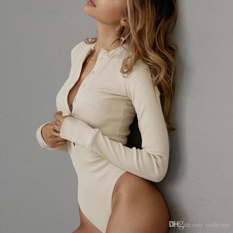 긴 소매 톱 여성 점프 수트 Buttton 바스트 샴 바지 T 셔츠 바디 슈트 속옷 여성 상판 의류는 220,197 스타킹