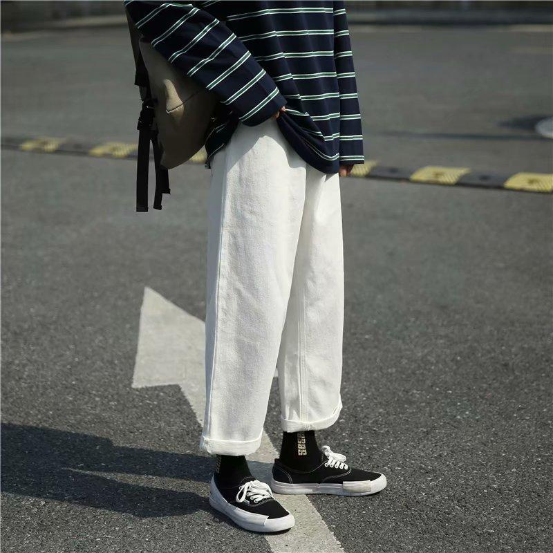 New 2020 Fashion denim white washed jeans men's straight fall Korean style loose wide leg pants bf Harajuku style retro trousers