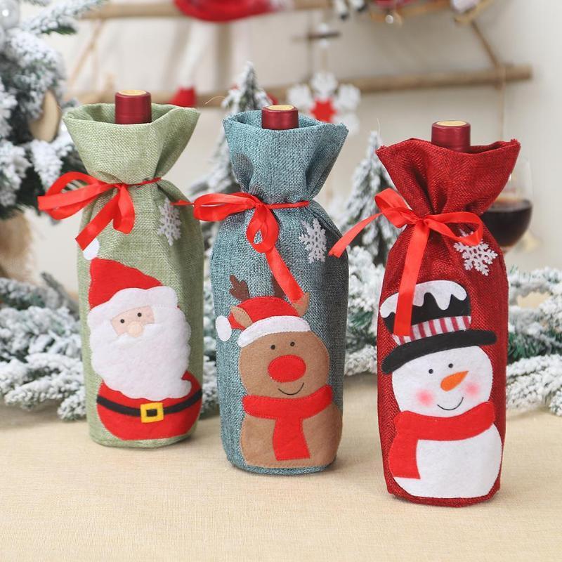Bottiglia di vino rosso Natale Decor Set Santa Claus Bottiglie di copertura Xmas Decor