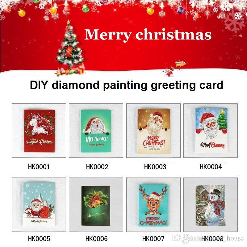 Merry Christmas Kartı DIY Elmas Boyama Doğum Günü Tebrik Kartı Noel Baba Geyik Kardan Adam DIY Matkap Kart