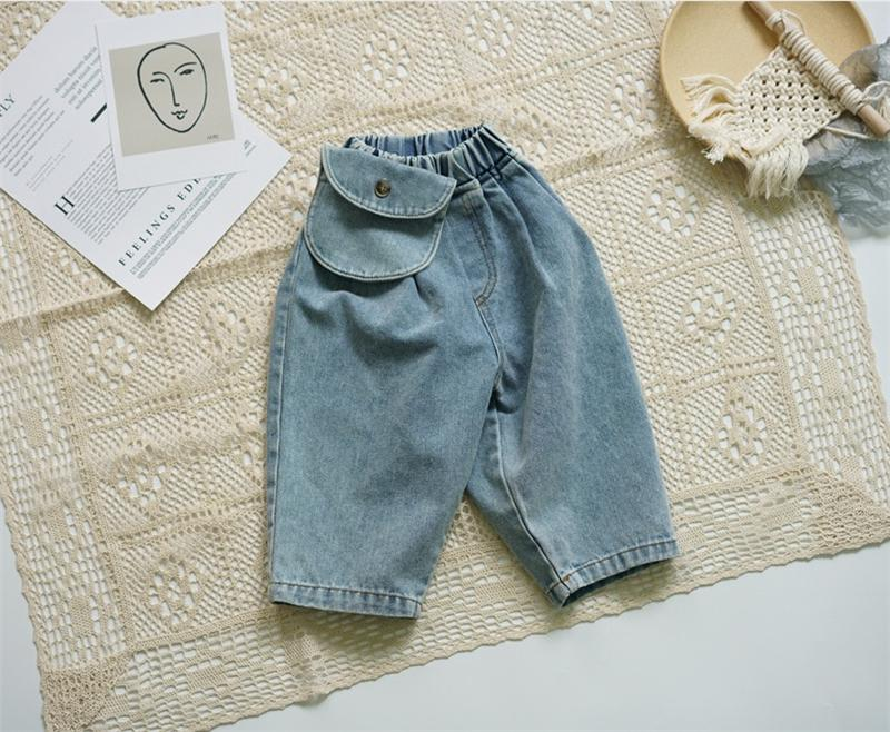Newest Fall Kids Boys Jeans Denim Trousers Korean Fashion Pokets Bags Wrinkles Designs Pockets Vintage Elastic Waist Summer Children Pants