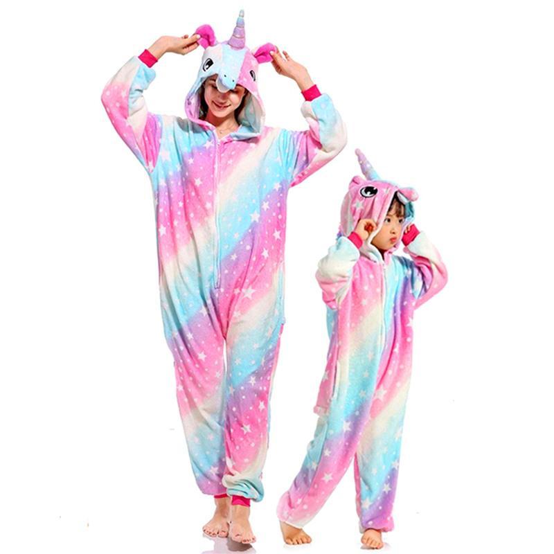 Kigurumi Women Unicorn Pajamas Sets Flannel Cute Animal Pajamas Kids Winter Stitch Pyjamas Hooded Sleepwear Cartoon Homewear