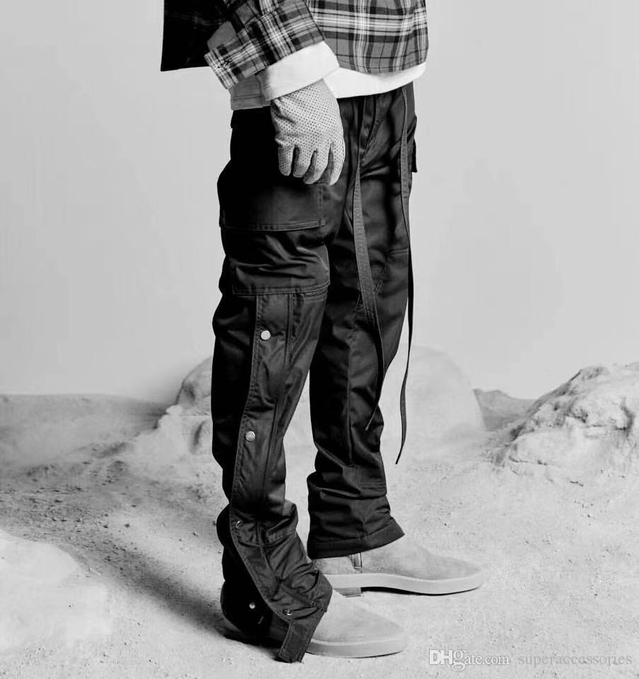 럭셔리 바지 주류 힙합 안개 바지 스트리트 사이드 버클 지퍼 포크 오프너 수 하나님의 두려움 남자의 오버올 디자이너의 스웨트 팬츠