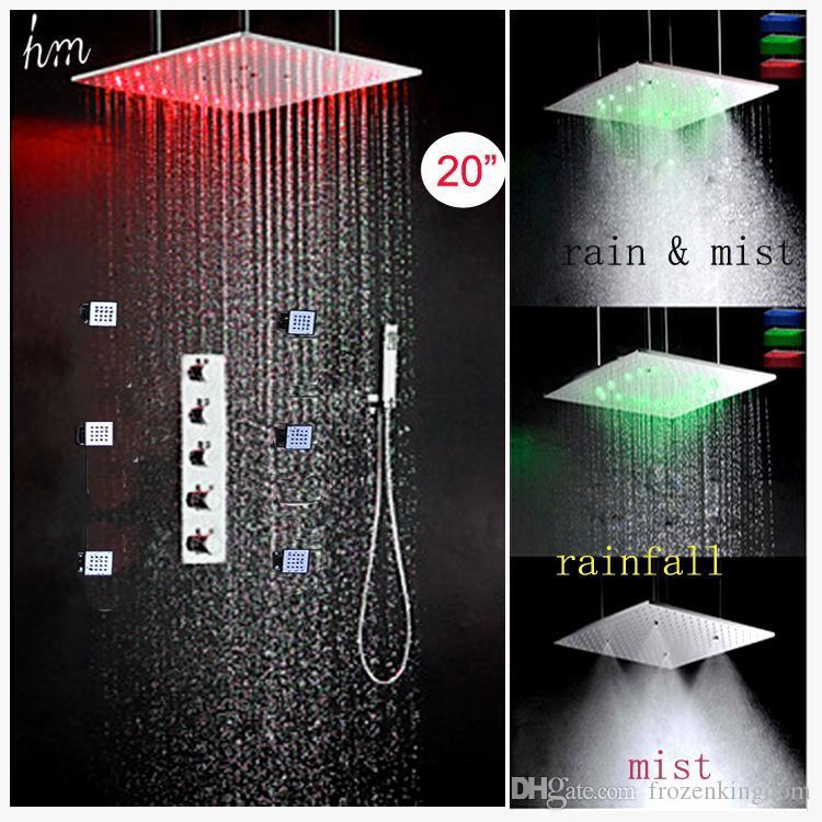 A07 lusso LED Bagno Doccia 304 SUS Specchio Pannello 500X500 soffitto pioggia nebbia Doccia Hot Head fredda rubinetto miscelatore con massaggio getti corpo 20.180.927 #